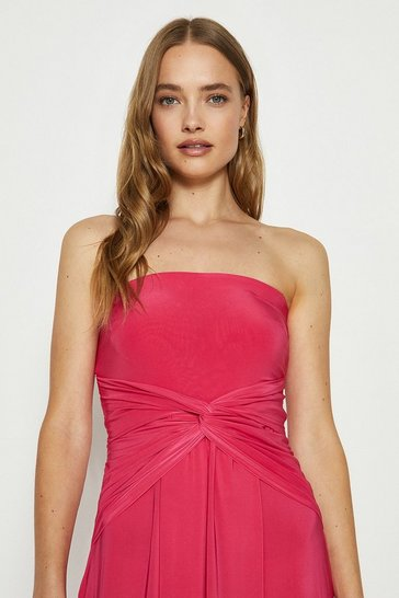 Pink Plain Bandeau Jersey Maxi Dress