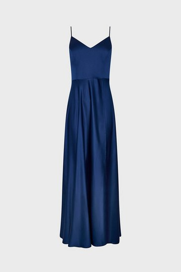 Navy Satin Flared Wrap Maxi Dress