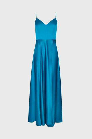 Turquoise Satin Flared Wrap Maxi Dress