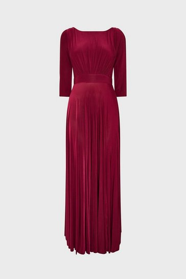 Berry Wrap Back Maxi With Front Slit