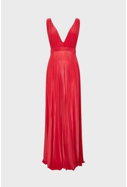 Coral Sleeveless V-Neck Jersey Maxi Dress