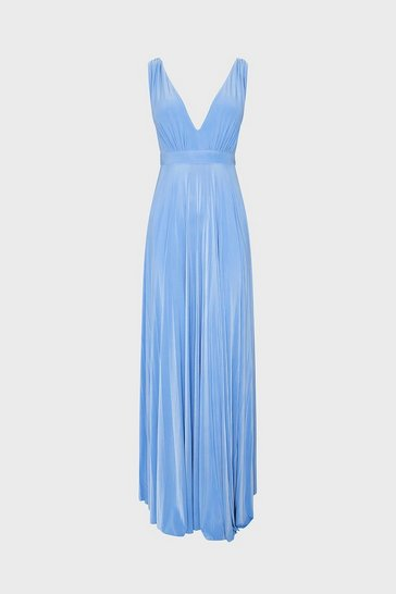 Light blue Jersey V Neck Maxi Dress