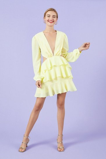 Lemon Long Sleeve Cutout Lace Trim Skater Dress