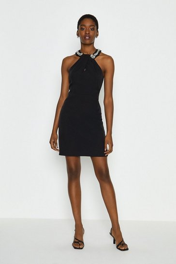 Black Embellished Halter Neck Short Dress