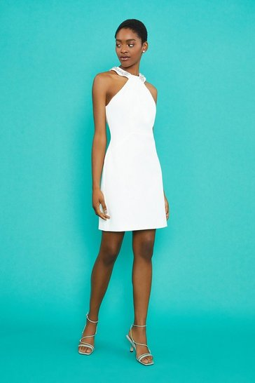 Ivory Embellished Halter Neck Short Dress