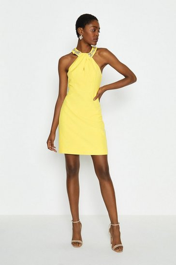 Yellow Embellished Halter Neck Short Dress