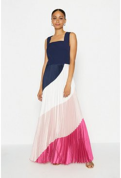 Navy Solid Bodice Printed Pleat Skirt Maxi Dress