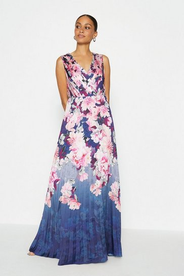 Navy Printed Pleated Maxi Dress