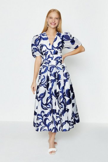Blue Puff Sleeve Full Midi Dress
