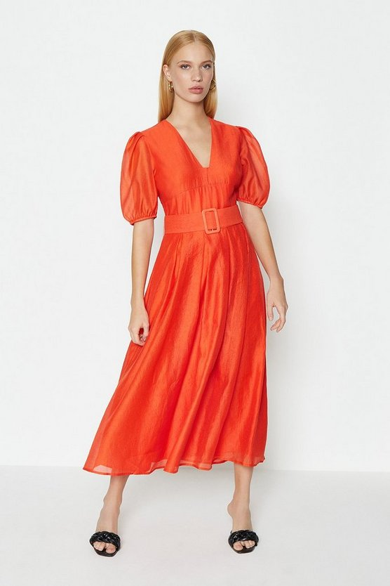 Orange Puff Sleeve Full Midi Dress