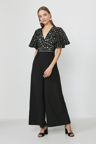 Black Short Sleeve Lace Bodice Jumpsuit