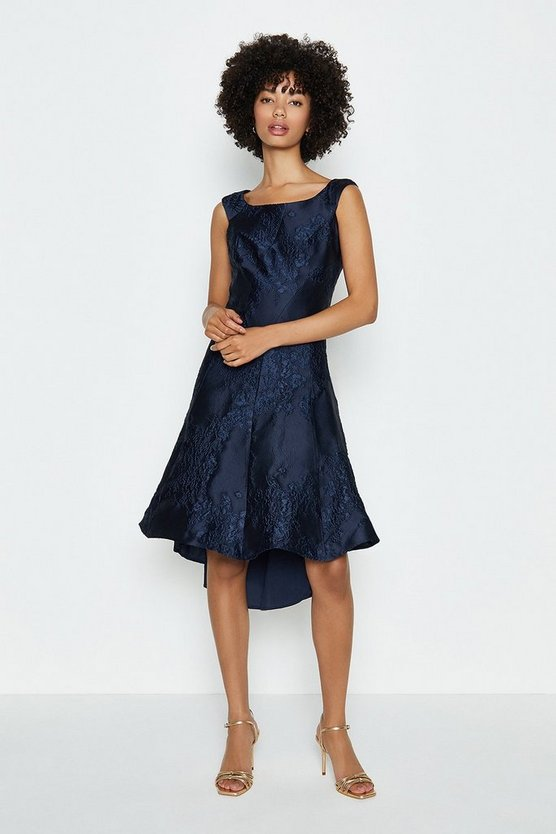 Navy Jacquard Twist Seam Dress