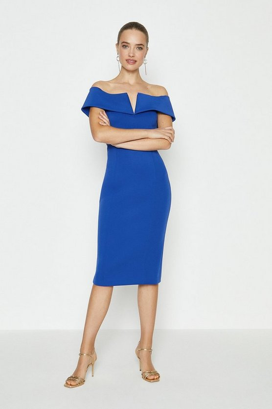 Cobalt Scuba Bardot Shift Dress