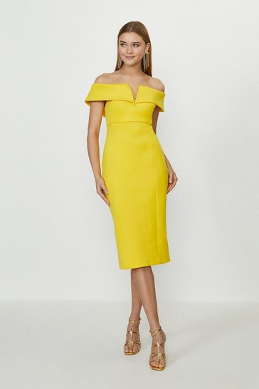Yellow Scuba Bardot Shift Dress