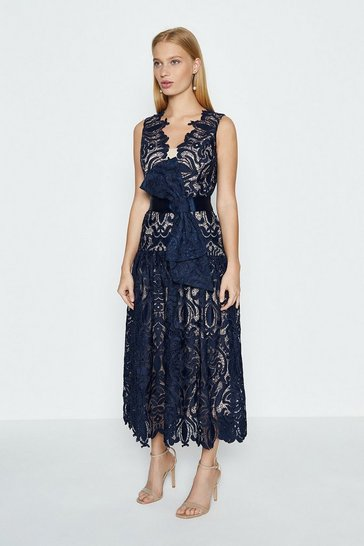 Navy Sleeveless V-Neck Lace Maxi Dress