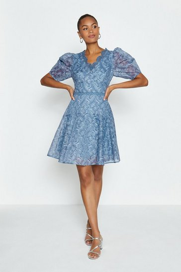 Blue Broidery Organza Puff Sleeve Short Dress
