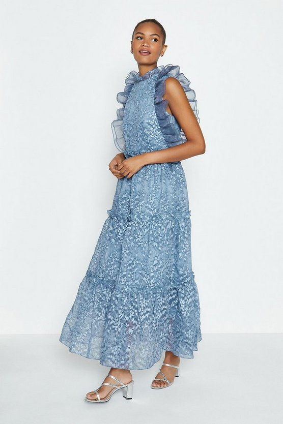 Blue Broidery Organza Maxi Dress