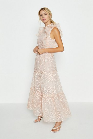 Blush Broidery Organza Maxi Dress