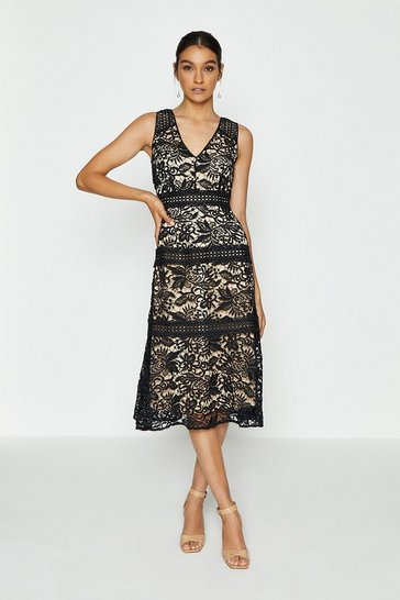 Black Sleeveless Lace Insert Long Dress