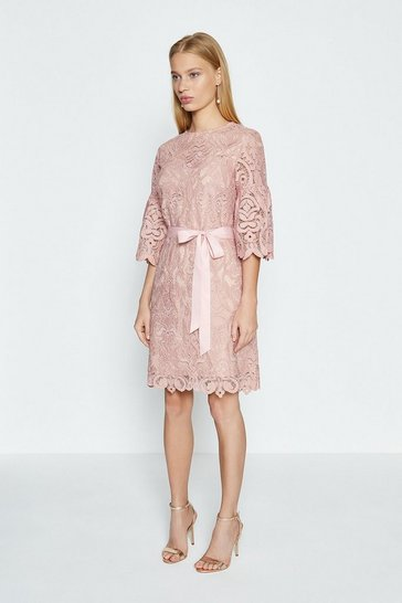 Blush Lace Puff Sleeve Knee Length Dress