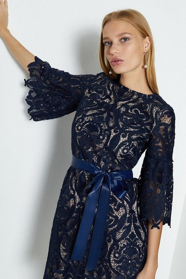 Navy Lace Puff Sleeve Knee Length Dress