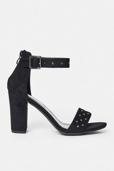 Black Diamante Strap Block Heel Sandal