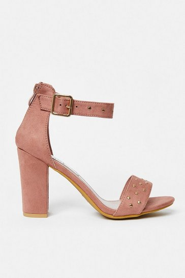 Tan Diamante Strap Block Heel Sandal
