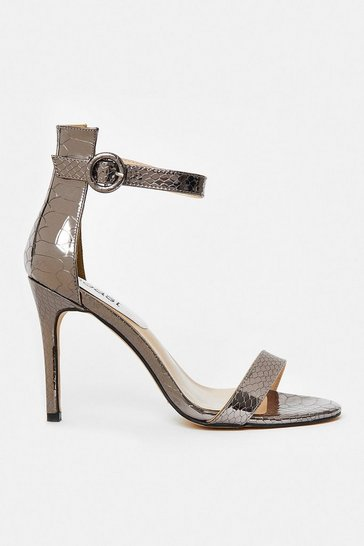 Gun metal Mini Buckle Ankle Strap Heels