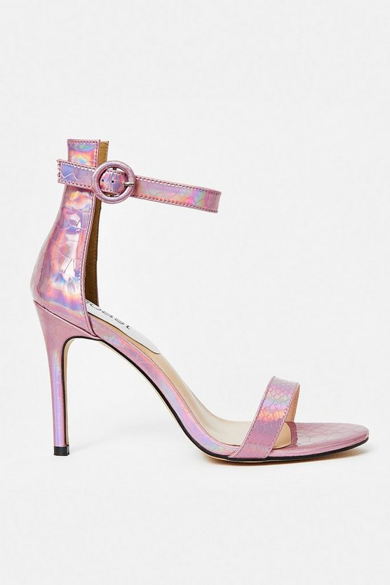 Pink Mini Buckle Ankle Strap Heels