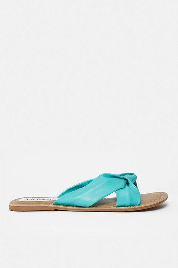 Turquoise Knot Front Flat Sandal
