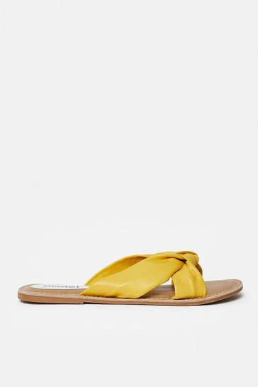 Yellow Knot Front Flat Sandal