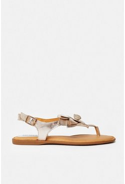 Rose gold Floral Toe Post Flat Sandal