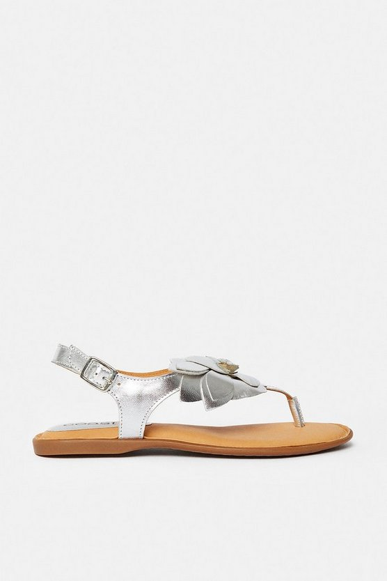 Silver Floral Toepost Flat Sandal