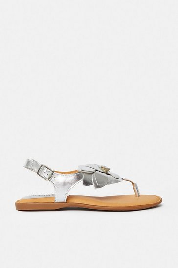 Silver Floral Toe Post Flat Sandal