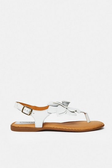 White Floral Toe Post Flat Sandal