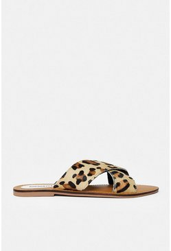 Animal Flat Cross Over Strap Sandal