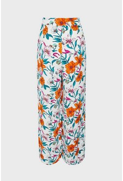 White Tropical Printed Wide Leg Trouser