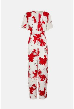 White Floral Printed Wrap Front Jumpsuit