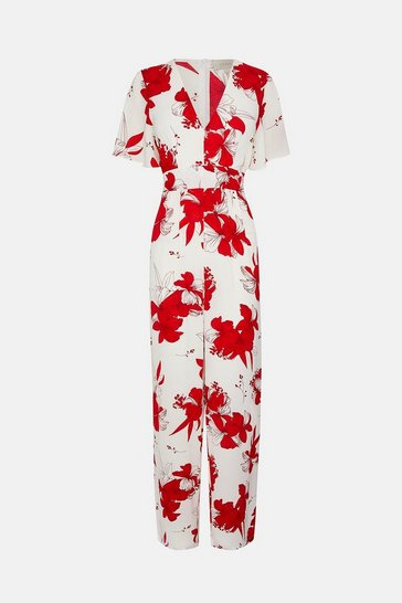 White Printed Wrap Front Jumpsuit