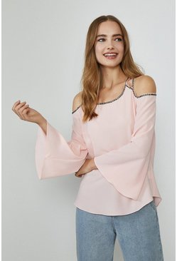 Blush Cold Shoulder Trimmed Long Sleeve Top