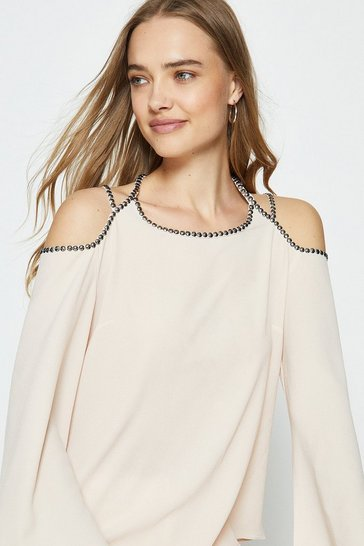 Natural Cold Shoulder Trimmed Long Sleeve Top