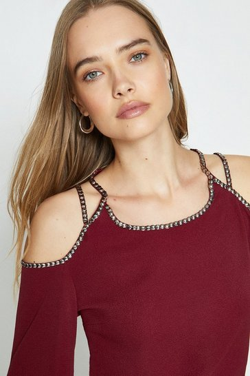 Wine Cold Shoulder Trimmed Long Sleeve Top