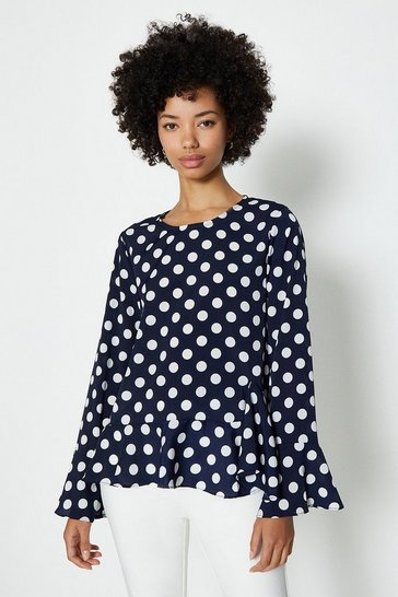 Navy Long Sleeve Frill Hem Spot Top