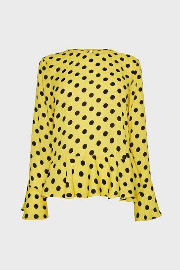 Yellow Frill Hem Long Sleeve Woven Top