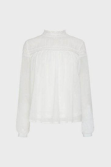 Ivory Lace Yoke Button Front Top