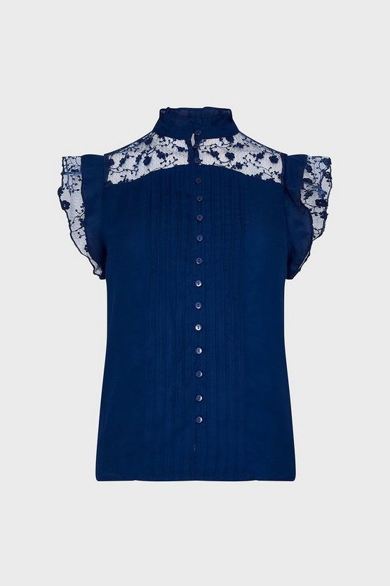 Blue Lace Yoke Button Front Top
