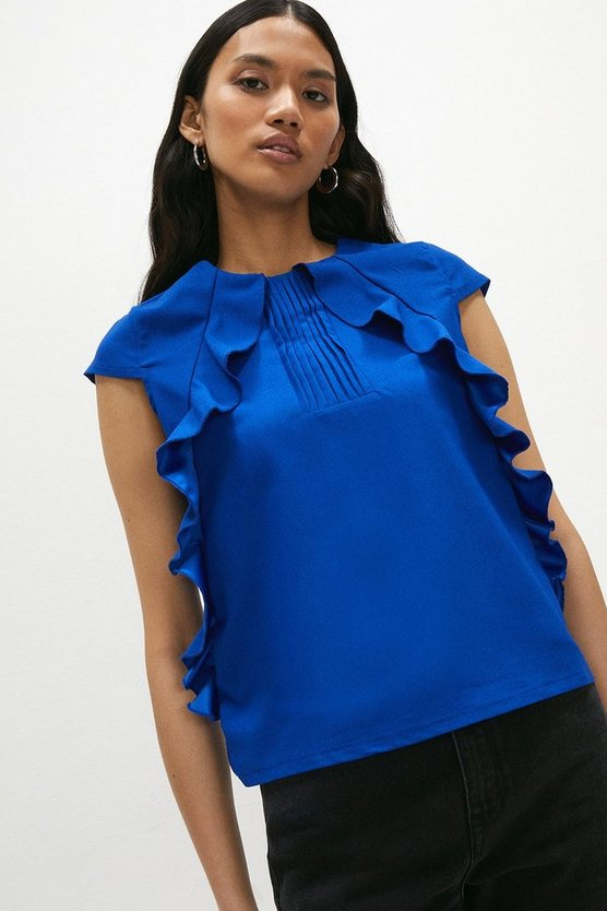 Blue Pintuck and Frill Cap Sleeve Top
