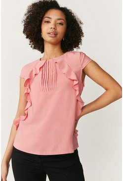 Blush Pintuck and Frill Cap Sleeve Top