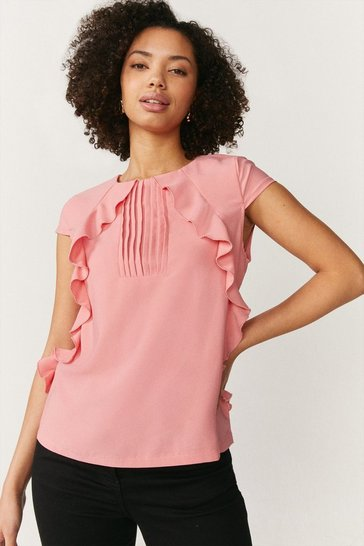 Blush Pintuct and Frill Cap Sleeve Top