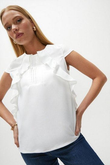 Ivory Pintuck and Frill Cap Sleeve Top